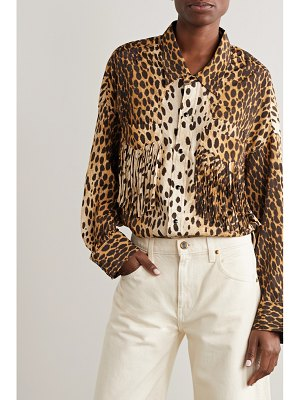 R13 fringed animal-print woven shirt