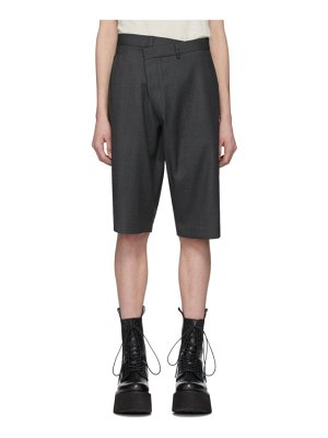 R13 grey crossover trouser shorts