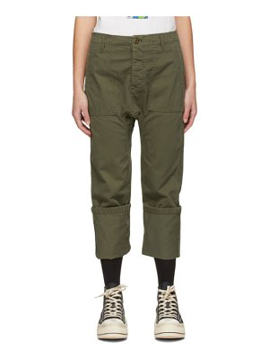 R13 khaki utility drop crotch trousers