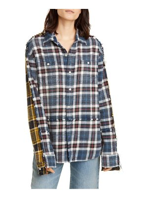 R13 mended double plaid shirt