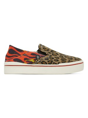 R13 multicolor leopard flaming heads sneakers