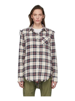 R13 off-white plaid shredded seam shirt