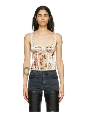 R13 off-white velvet floral corset camisole