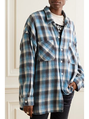 R13 oversized checked cotton-flannel shirt