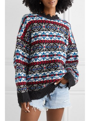 R13 oversized distressed fair isle cashmere sweater