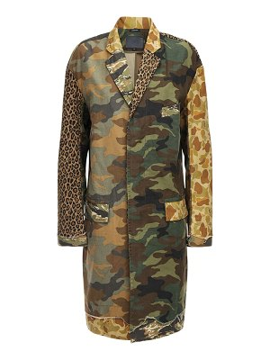 R13 Patchwork canvas trench coat