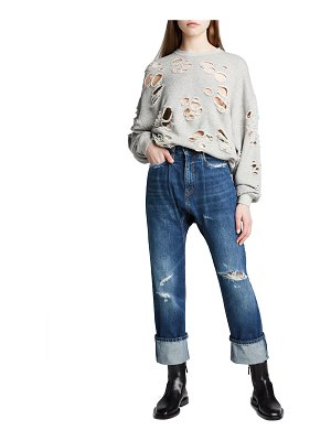 R13 Pleated Drop Straight-Leg Jeans with Cuffs