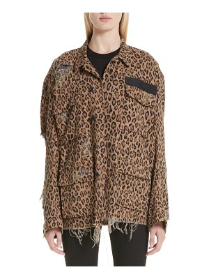 R13 shredded leopard print jacket