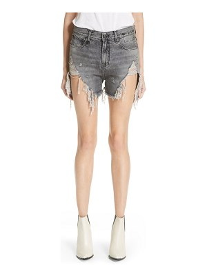 R13 shredded slouch denim shorts