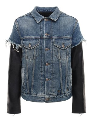 R13 Sky denim jacket w/ leather sleeves