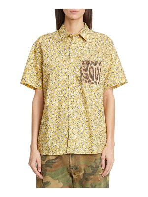 R13 tony contrast pocket floral print shirt