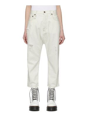 R13 white tailored drop jean
