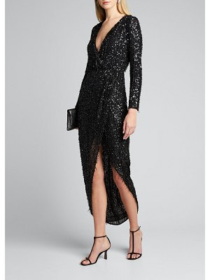 RACHEL GILBERT Hand Embellished Long-Sleeve High-Low Wrapped Gown