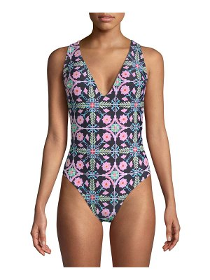 Rachel Roy Floral-Print Strappy Back Maillot