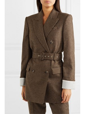 RACIL farrah belted double-breasted satin-trimmed wool-crepe blazer
