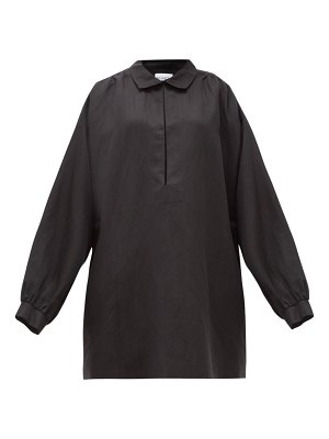 RAEY balloon-sleeve linen and silk-blend smock dress