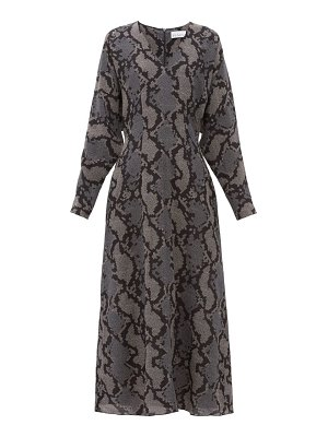 RAEY batwing geo snake print silk dress
