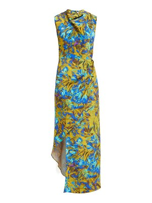 RAEY cowl neck asymmetric uv floral print silk dress
