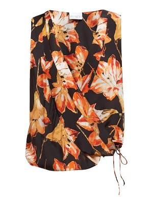 RAEY crossover lily-print silk top