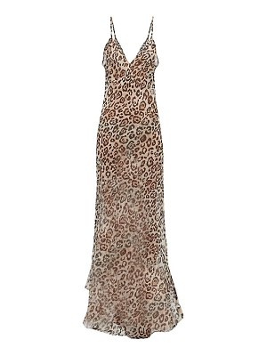 RAEY dip-hem leopard-print sheer silk slip dress