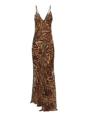 RAEY dip-hem tiger-print sheer silk slip dress