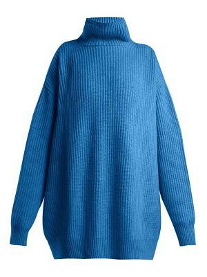 RAEY displaced sleeve ribbed roll neck wool sweater