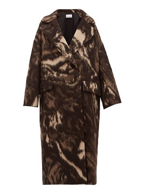 RAEY double breasted animal print wool blend coat