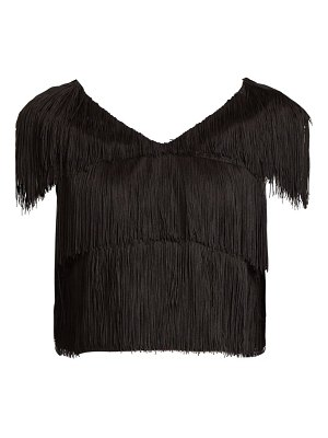 RAEY fringed cropped bib top