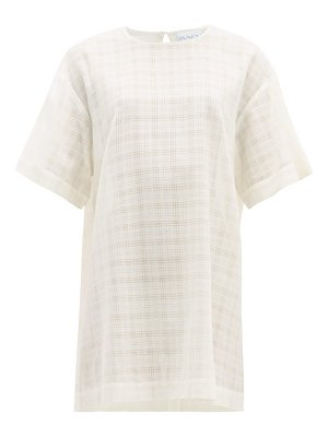 RAEY long-line crosshatch woven top