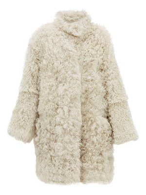 RAEY stand collar curly shearling coat