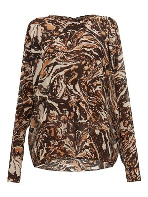 RAEY raglan-sleeve marbled animal-print silk top