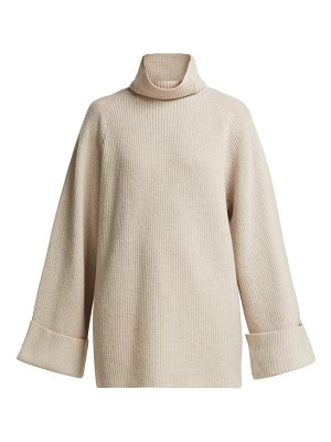 RAEY wide sleeve ribbed roll neck wool sweater