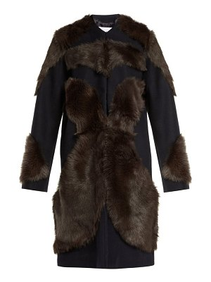 RAEY panelled shearling and wool coat