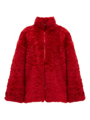 RAEY zip up curly shearling bomber jacket