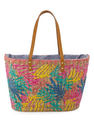 Rafe Evelin Embroidered Seagrass Tote Bag
