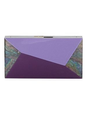 Rafe Melissa Rectangular Rainbow Shell Minaudiere Clutch Bag