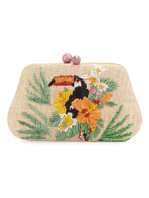 Rafe Rosie Toucan Embroidered Clutch Bag