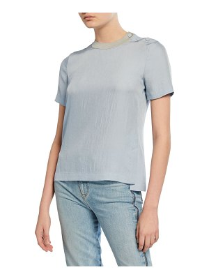 Rag & Bone Aiden Side-Split Crewneck Tee w/ Buttons