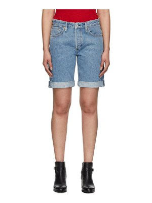 Rag & Bone blue misha mid-rise walking shorts