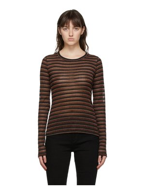 Rag & Bone brown metallic stripe long sleeve t-shirt