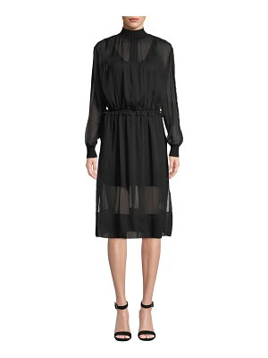 Rag & Bone Dinah Silk High-Neck Long-Sleeve Dress