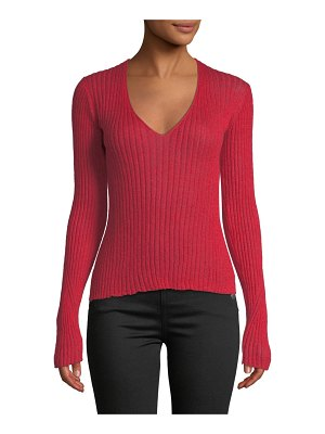 Rag & Bone Donna Ribbed Mohair V-Neck Sweater