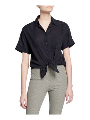 Rag & Bone Lenny Short-Sleeve Button-Down Tie-Hem Shirt