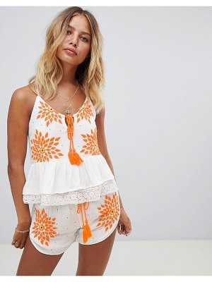 Raga Neon Fields Embroidered Cami Top