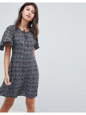 Rage lace up front frill sleeve dress