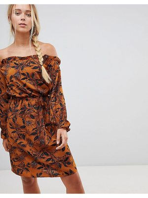 Rage off shoulder floral printed dress