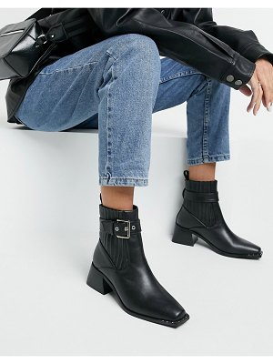 Raid audree square toe boots with buckle in black
