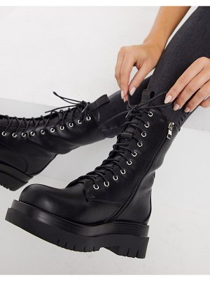Raid dahlia flat lace-up boots in black