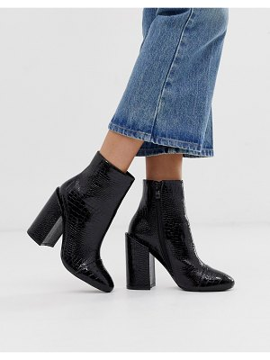 Raid dolley black croc patent heeled ankle boots