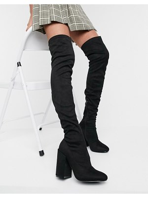 Raid editta over the knee boots with block heel in black